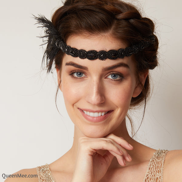 1920s headpiece in black with beading