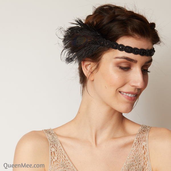 1920s headpiece in black with feathers
