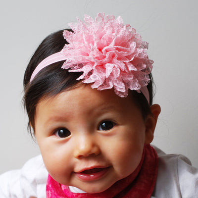 baby flower headband in pink