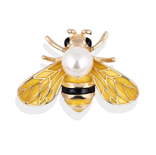 bee brooch with pearl