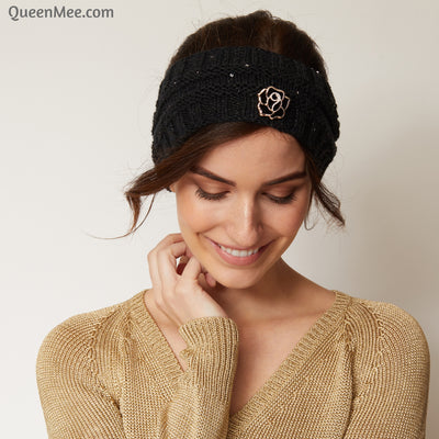 black knitted headband with brooch