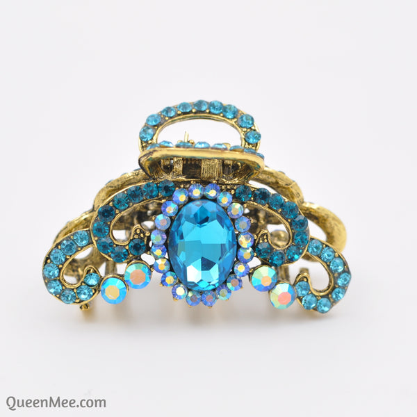 blue hair claw clip with gems gold