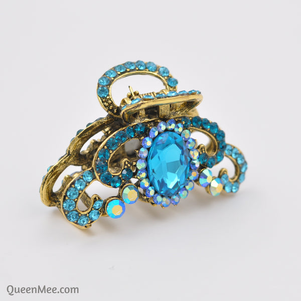 blue hair claw clip with gems side