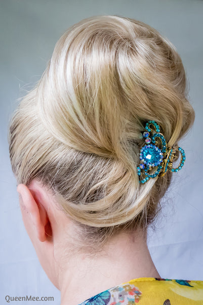 blue hair claw clip with gems styled