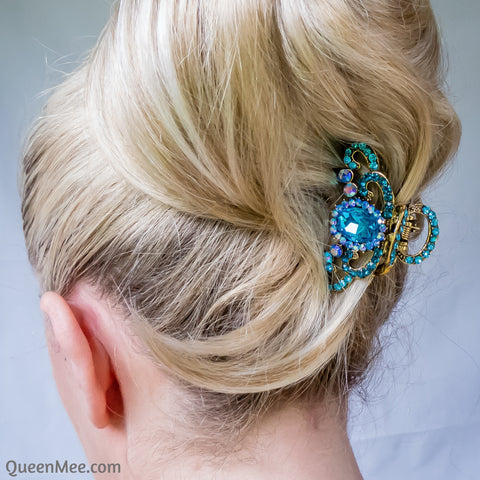 blue hair claw clip with gems updo