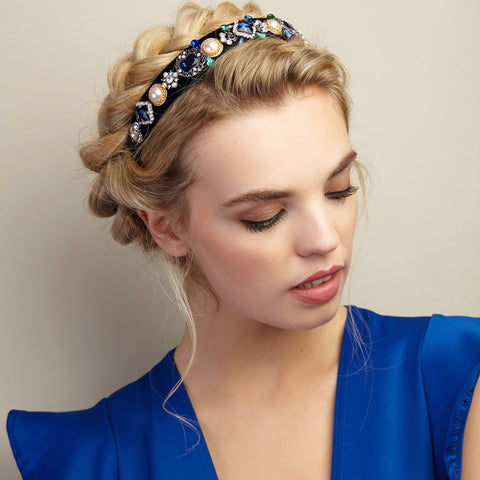 blue jewelled headband styled