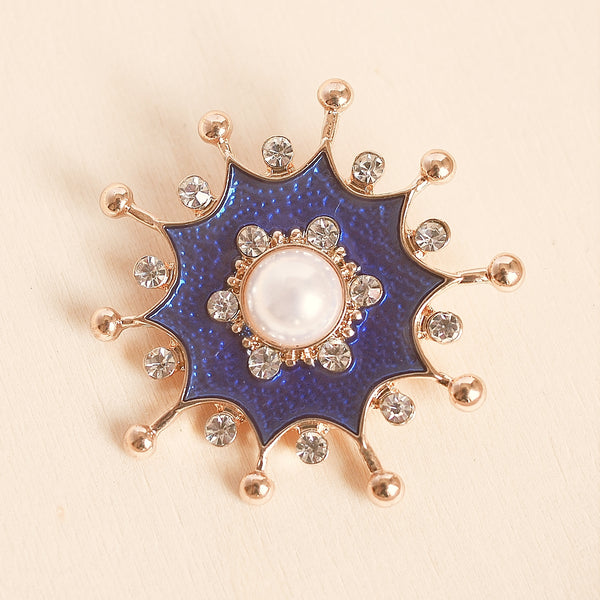 blue pearl brooch with crystal