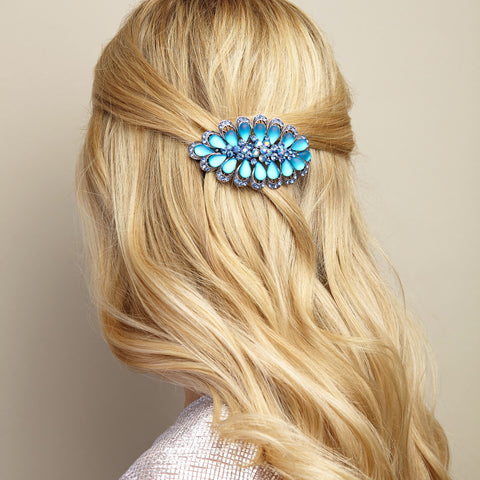blue rhinestone hair clip half up half down