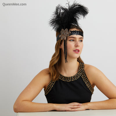 boho headpiece with feathers