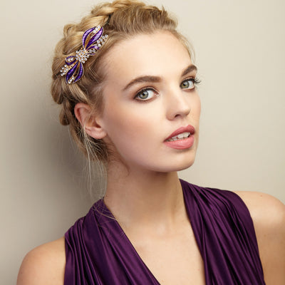 bow hair clip in purple updo hairstyle