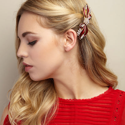 bow hair clip red styled on side