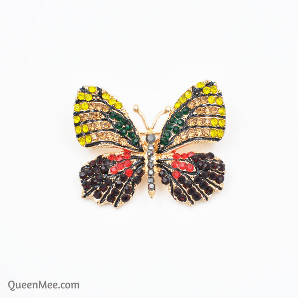 butterfly brooch crystal gold