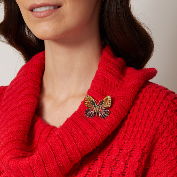 butterfly brooch crystal red