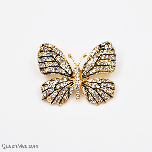 butterfly brooch crystal white