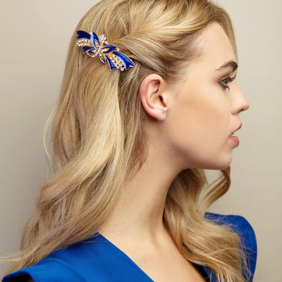 butterfly hair clip blue styled