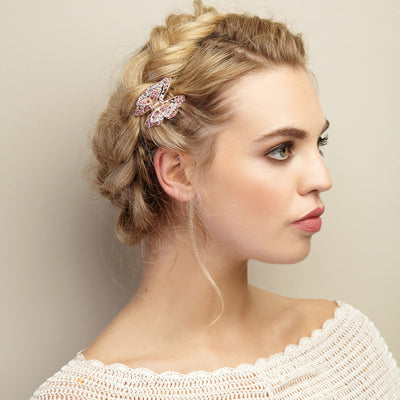 butterfly hair clip claw pink braided hair