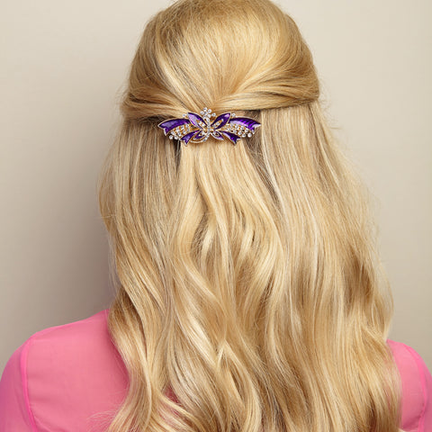 butterfly hair clip purple half up half down