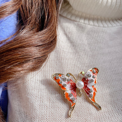 butterfly-pin-enamel-pearl-red-orange