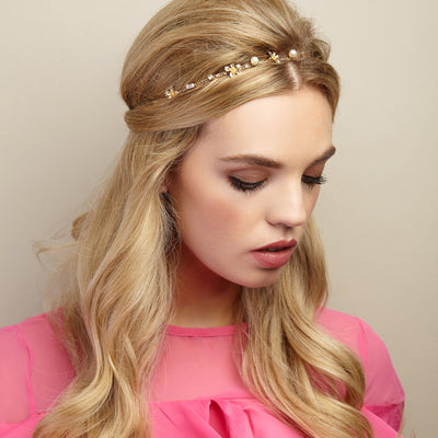 chain headband with pearls half up half down hairstyle