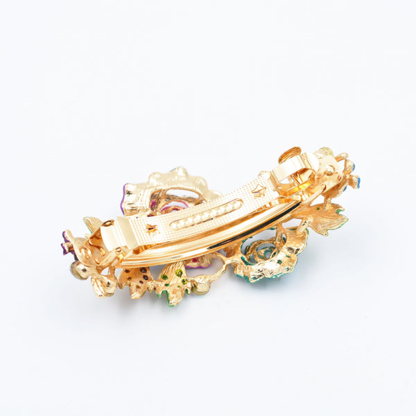 colourful hair clip with gold back