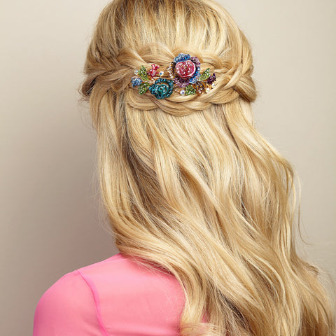 colourful hair clip for wedding guest hair