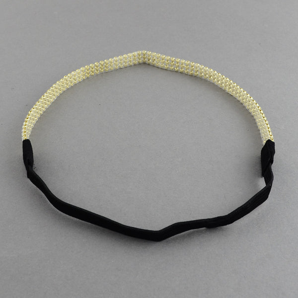 diamante headband gold elastic