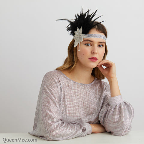 feather headband in silver