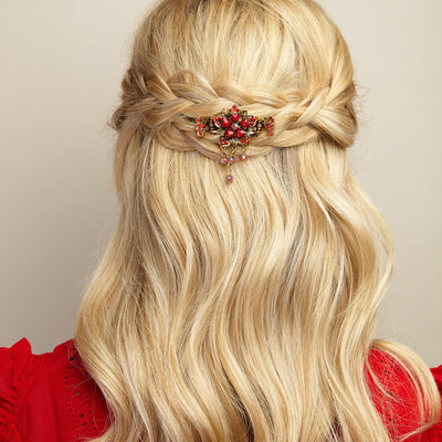 flower hair accessory in red