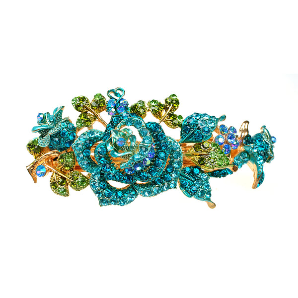 flower hair clip in blue with diamante