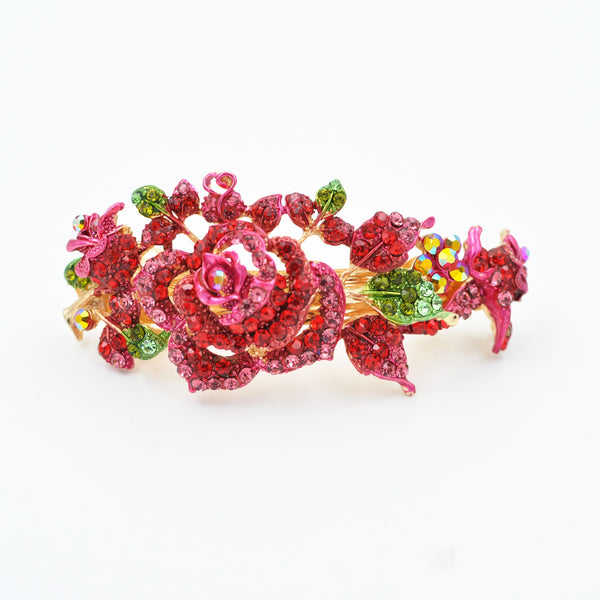 flower hair clip in red with diamante