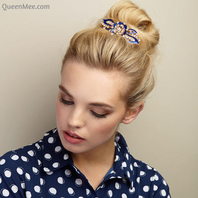 flower hair clip in blue enamel with hair bun