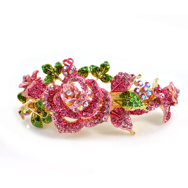flower hair clip in pink with crystal