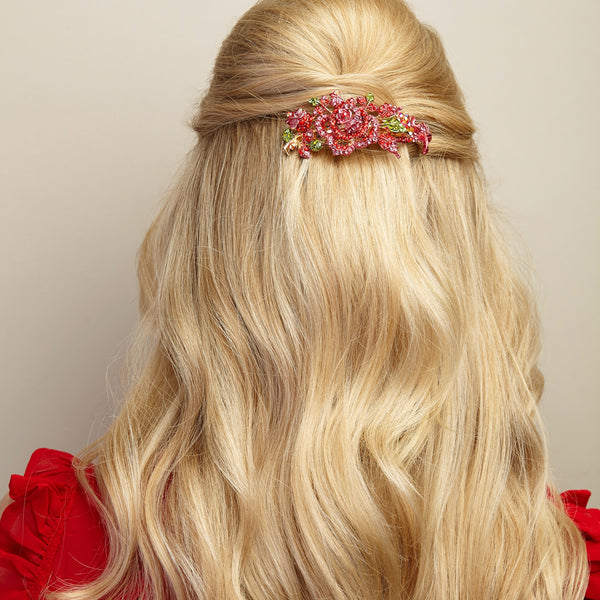 flower hair clip in red