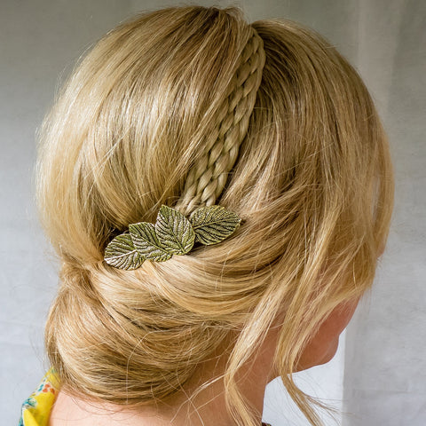 gold hair clip leaf boho hair