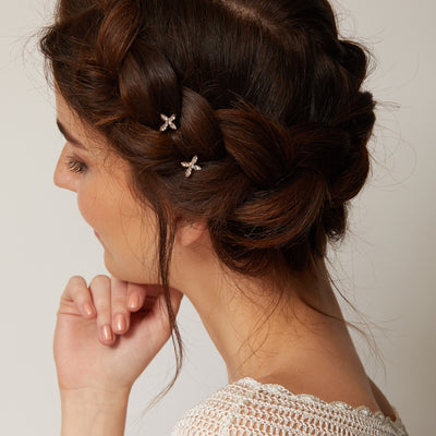 gold hair slides with diamante for bridal hair