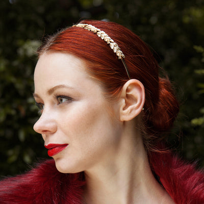 gold leaf headband wedding hair
