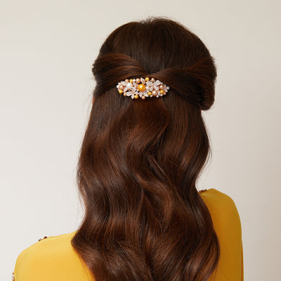 gold pearl hair clip half up hair