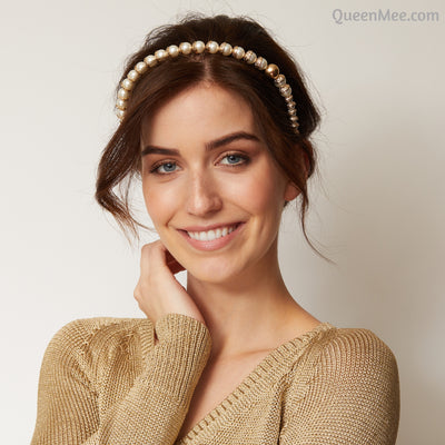 gold pearl headband hair up