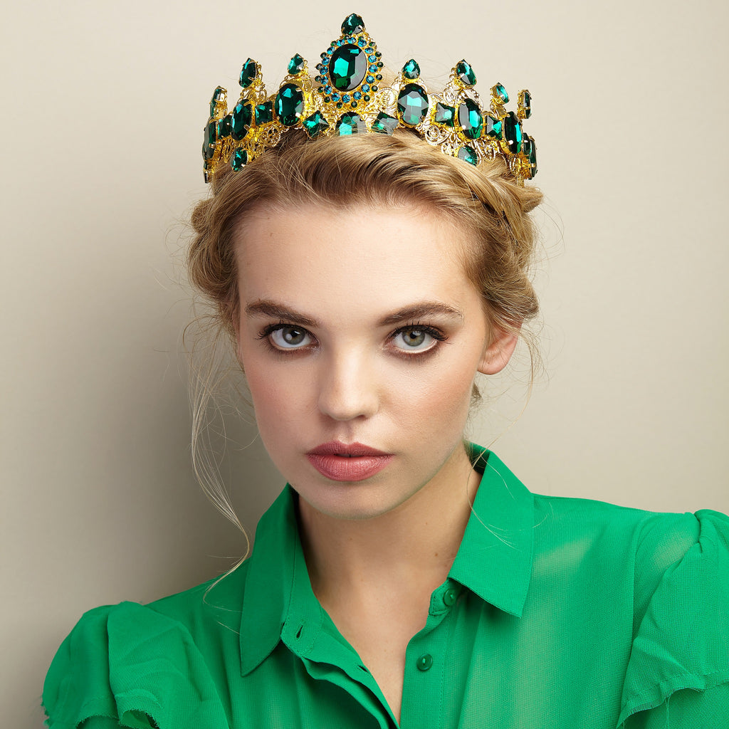 green tiara in gold