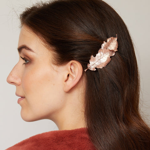 leaf hair barrette for wedding guest hair down