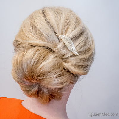 leaf hair clip in gold with bun updo