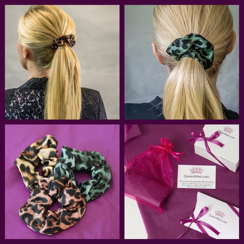 leopard print scrunchies gift set of 3