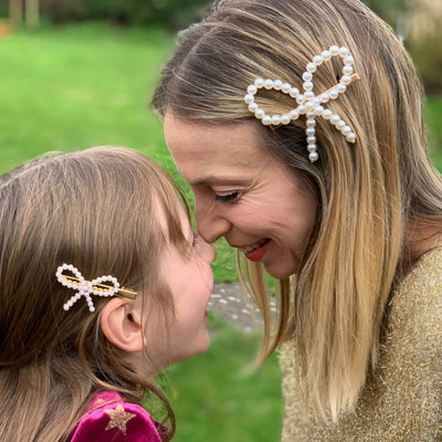 mummy and me bow hair clips in pearl with hair down