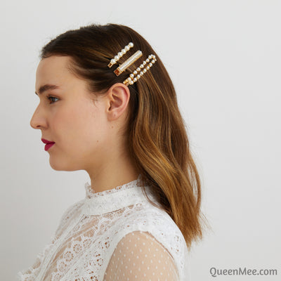 pearl clips in gold wedding hair