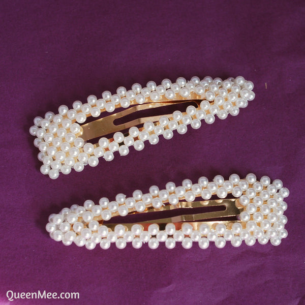 pearl hair clips set of two