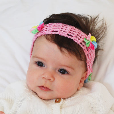 pink crochet headband for babies