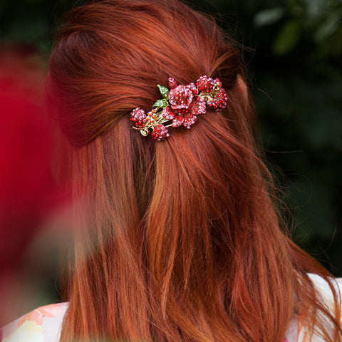 red flower hair clip half up half down