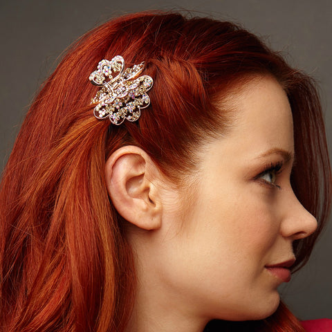 rose gold hair clip claw worn with hair down
