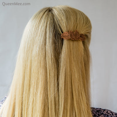 rose gold hair clip leaf hair loose