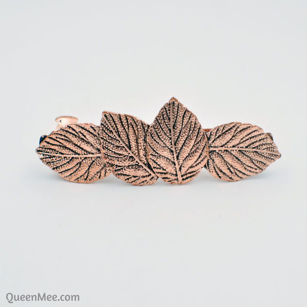 rose gold hair clip leaf
